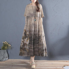 Laden Sie das Bild in den Galerie-Viewer, Natural khaki print cotton quilting clothes o neck Plus Size summer Dress