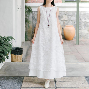 Natural lace cotton quilting clothes Work Outfits white Maxi Dress summer