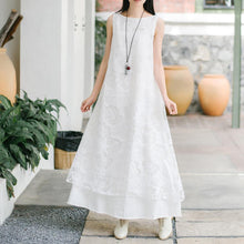 Laden Sie das Bild in den Galerie-Viewer, Natural lace cotton quilting clothes Work Outfits white Maxi Dress summer
