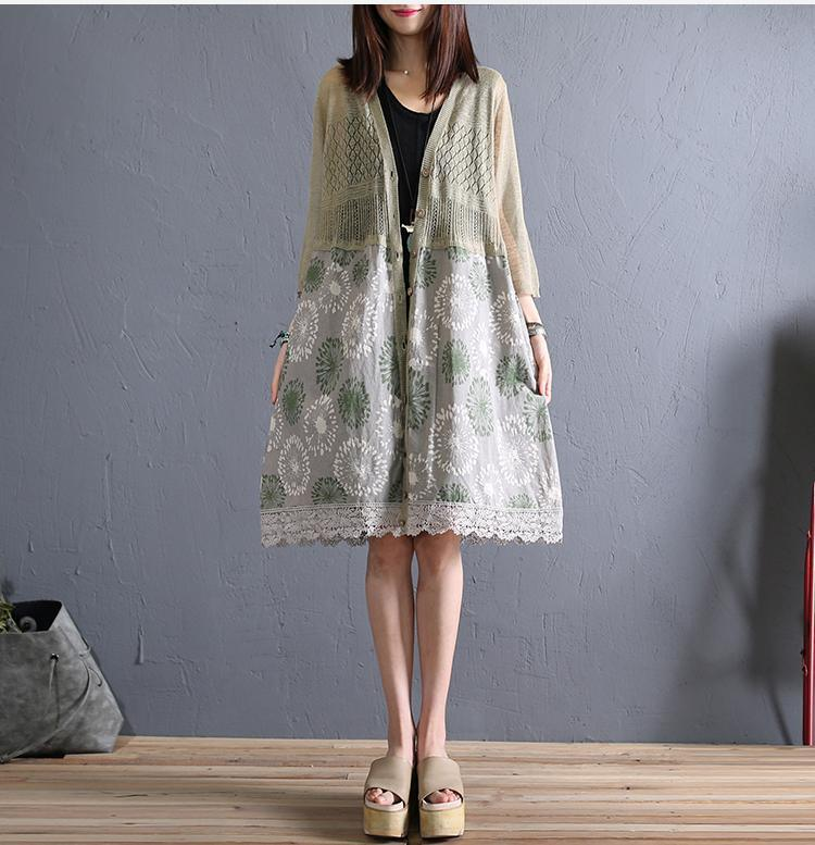 Natural lace patchwork linen clothes Fabrics light green cardigan summer