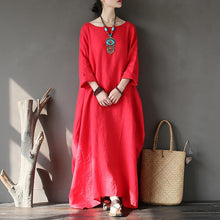 Load image into Gallery viewer, Natural long sleeve linen spring Robes Sleeve red Dress