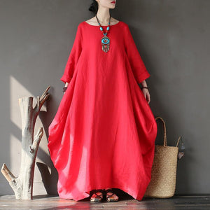 Natural long sleeve linen spring Robes Sleeve red Dress