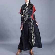 Load image into Gallery viewer, Natural o neck asymmetric cotton linen spring clothes For Women Tutorials black print Dresses