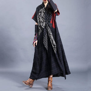 Natural o neck asymmetric cotton linen spring clothes For Women Tutorials black print Dresses