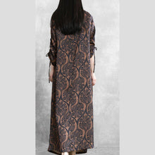 Load image into Gallery viewer, Natural o neck asymmetric spring clothes design chocolate print Dresses
