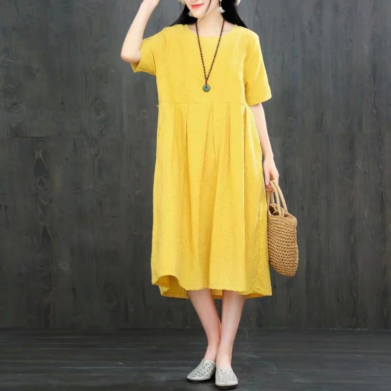 Natural o neck cotton quilting dresses Fashion Ideas yellow Dresses summer