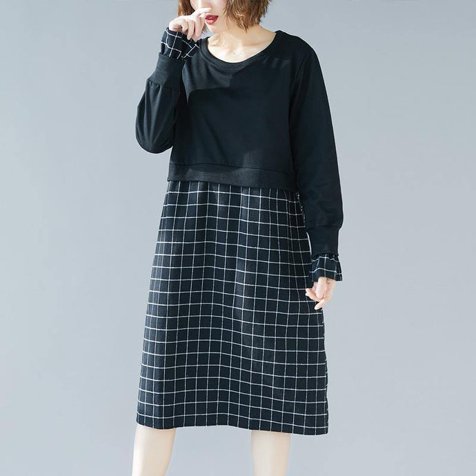 Natural o neck patchwork Cotton clothes Omychic pattern black oversized Dress