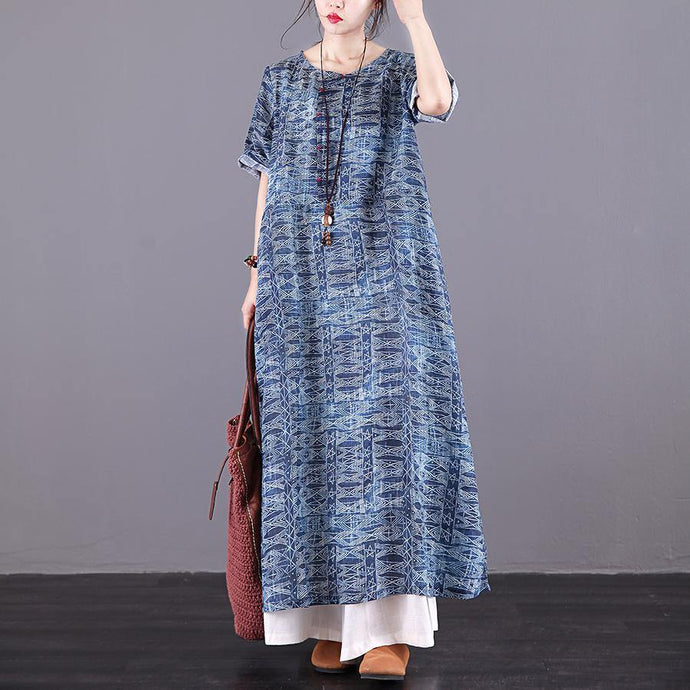 Natural o neck pockets linen Long Wardrobes blue print Dresses summer