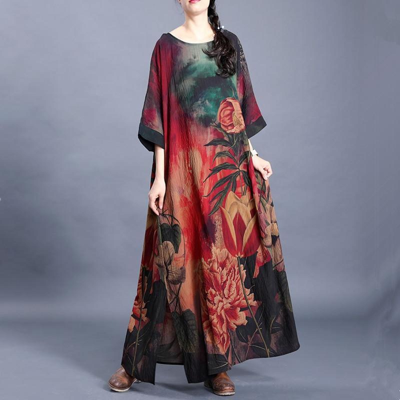 Natural o neck side open Tunic Outfits red green print Traveling Dresses