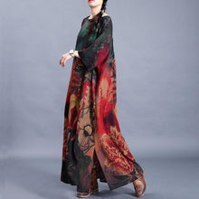 Load image into Gallery viewer, Natural o neck side open Tunic Outfits red green print Traveling Dresses