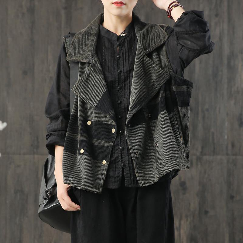 Natural patchwork corduroy clothes Sleeve black gray coats fall