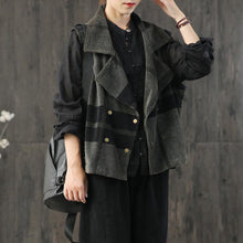 Load image into Gallery viewer, Natural patchwork corduroy clothes Sleeve black gray coats fall