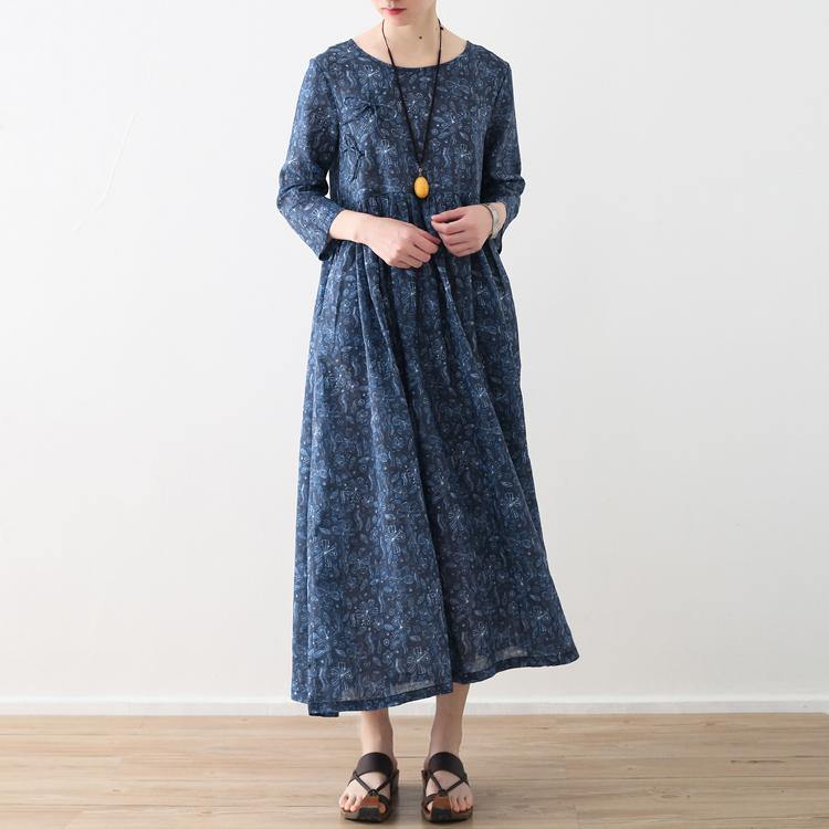 Natural prints linen clothes Tutorials blue Dresses fall