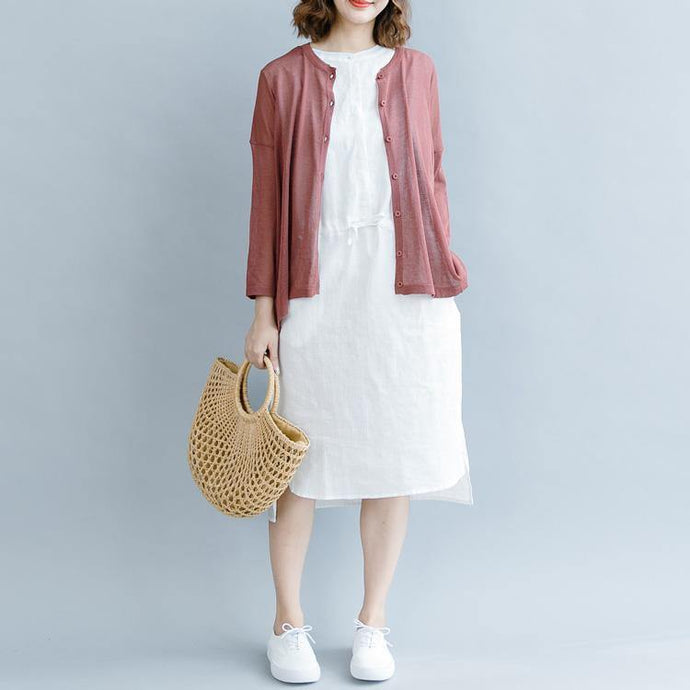 Natural red linen clothes 18th Century Work stand collar loose Dresses