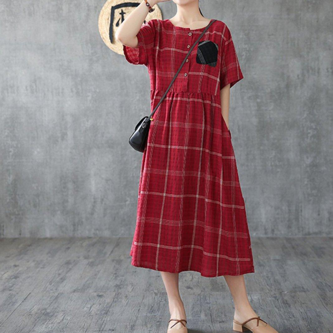 Natural red plaid linen cotton clothes For Women o neck pockets Love summer Dresses