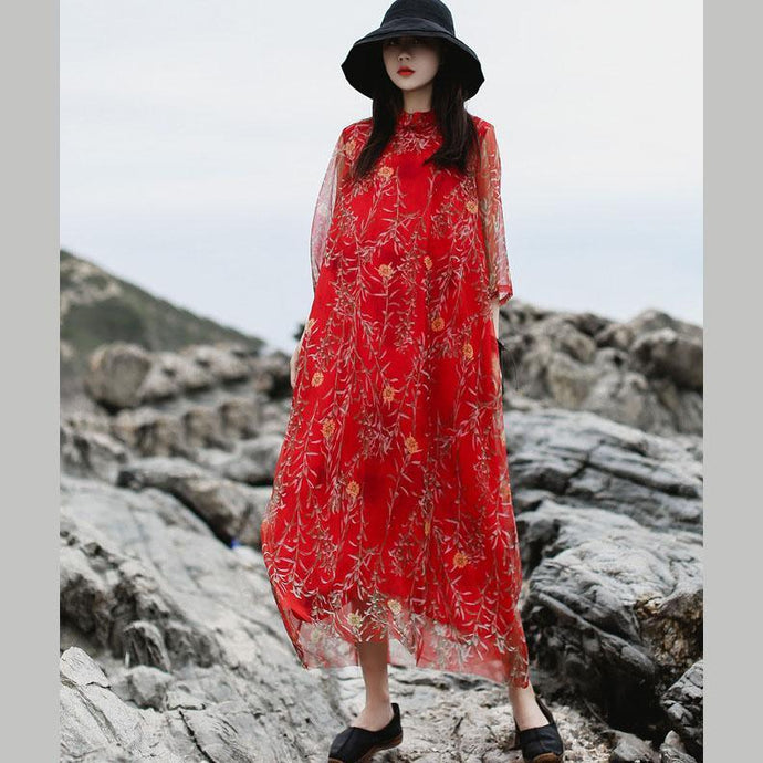 Natural red print chiffon clothes top quality stand collar false two pieces Vestidos De Lino Summer Dress