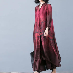 Natural red prints Silk outfit Pakistani pattern with wide leg pants oversized summer two pieces Dresses