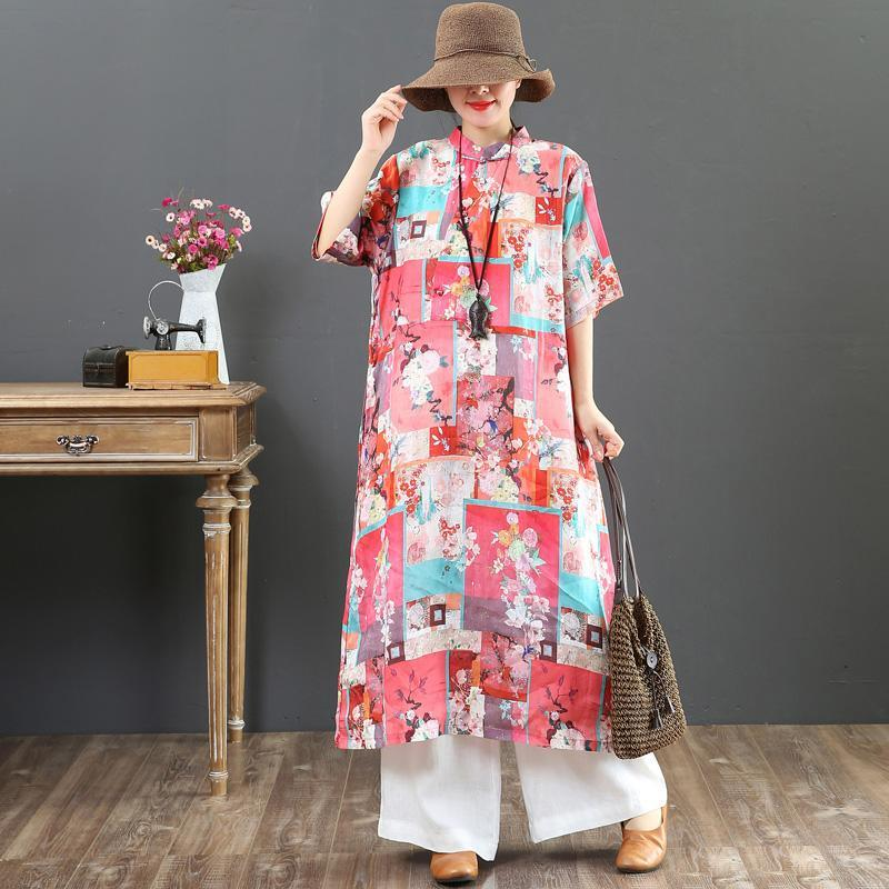 Natural stand collar pockets linen dresses Boho Wardrobes pink print loose Dress Summer