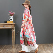 Load image into Gallery viewer, Natural stand collar pockets linen dresses Boho Wardrobes pink print loose Dress Summer