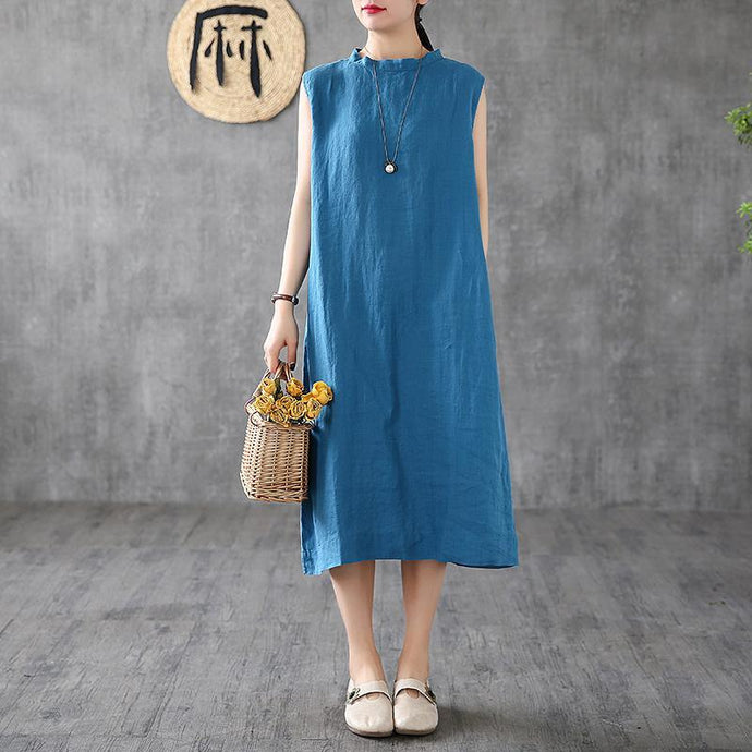 Natural stand collar sleeveless linen summer clothes For Women Inspiration blue Dresses