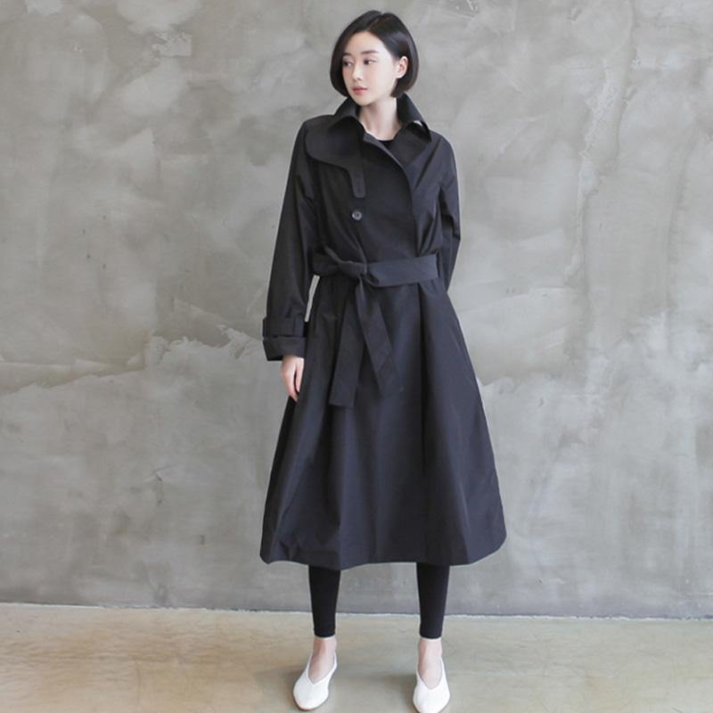 Natural tie waist Fine double breast clothes For Women black tunic coats