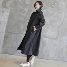 Load image into Gallery viewer, Natural tie waist Fine double breast clothes For Women black tunic coats