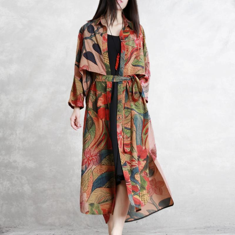 Natural tie waist silk clothes For Women top quality Work print Maxi coats