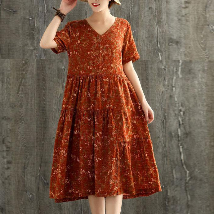 Natural v neck patchwork linen dress Fabrics orange print Dress summer