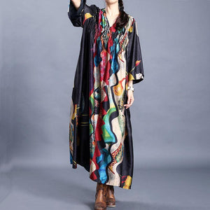 Natural v neck wrinkled tunics for women Tunic Tops black print Dress