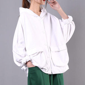 Natural white cotton box top hooded Batwing Sleeve daily spring top