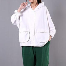 Load image into Gallery viewer, Natural white cotton box top hooded Batwing Sleeve daily spring top