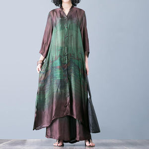 Natural with wide leg pants green prints Silk oversized Dresses summer two pieces