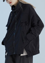 Load image into Gallery viewer, Natural zippered cotton autumn outwear top pattern black coat