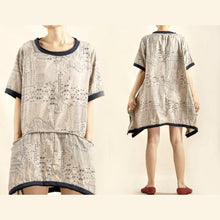 Load image into Gallery viewer, Natural cotton summer dress oversize print shirt dress