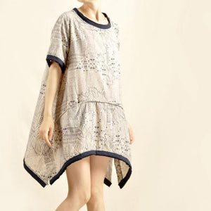 Natural cotton summer dress oversize print shirt dress