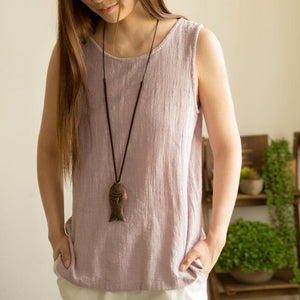 Natural linen lavender woman tank top summer breathy shirt blouse