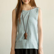 Load image into Gallery viewer, Natural linen lavender woman tank top summer breathy shirt blouse