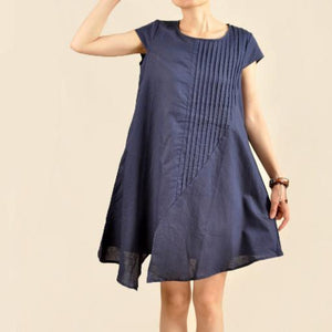 Navy Asymmetric sundress plus size cotton summer dresses