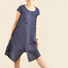 Load image into Gallery viewer, Navy Asymmetric sundress plus size cotton summer dresses