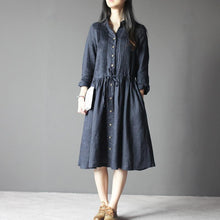 Load image into Gallery viewer, Navy Retro Linen dress long sleeve sundresses Plus size Casual style