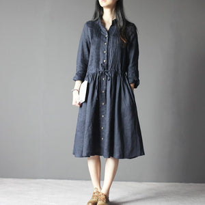 Navy Retro Linen dress long sleeve sundresses Plus size Casual style