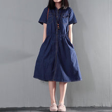Load image into Gallery viewer, Navy blue summer denim dress tunic casual denim sundress plus size thin for summer