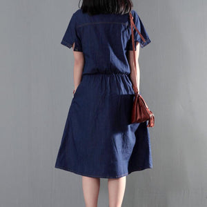 Navy blue summer denim dress tunic casual denim sundress plus size thin for summer