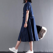 Load image into Gallery viewer, Navy blue summer denim maxi dress plus size denim sundress short sleeve fit flare dress