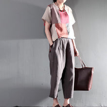 Laden Sie das Bild in den Galerie-Viewer, Navy blue summer linen Capri pants casual Crop Pants Cropped Trousers