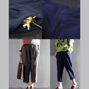 Navy blue summer linen Capri pants casual Crop Pants Cropped Trousers