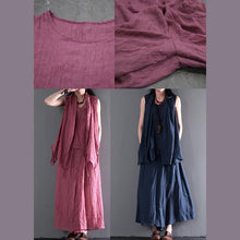Load image into Gallery viewer, Navy blue summer linen tops and skirt pants linen set dresses three pieces