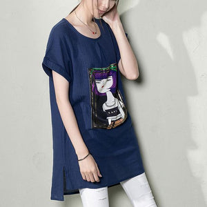 Navy casual linen summer shirt blouse top print t shirt