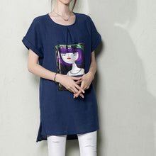 Laden Sie das Bild in den Galerie-Viewer, Navy casual linen summer shirt blouse top print t shirt