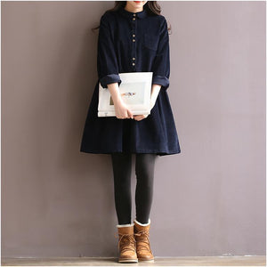 Navy causal oversize corduroy dress retro cotton spring dresses